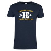 Ladies Navy T Shirt-Cross Country Design