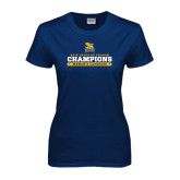 Ladies Navy T Shirt-2016 Regular Season Champions Womens Lacrosse