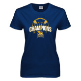 Ladies Navy T Shirt-2017 MAAC Champions Baseball