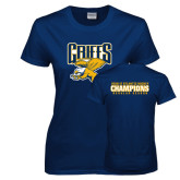 Ladies Navy T Shirt-Griffs w/ Griff Stacked