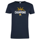 Ladies Navy T Shirt-Mens Basketball Regular Season Champions