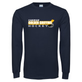 Navy Long Sleeve T Shirt-Hockey Stick Design