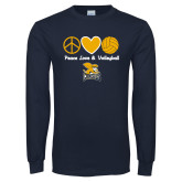 Navy Long Sleeve T Shirt-Peace, Love and Volleyball Design