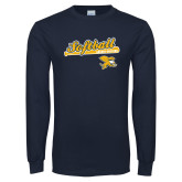 Navy Long Sleeve T Shirt-Script Softball w/ Bat Design