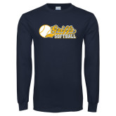 Navy Long Sleeve T Shirt-Script Softball w/ Ba Design