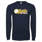 Navy Long Sleeve T Shirt-Script Softball w/ Ba Design