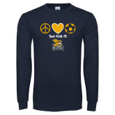 Navy Long Sleeve T Shirt-Just Kick It Soccer Design