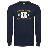 Navy Long Sleeve T Shirt-Cross Country Design