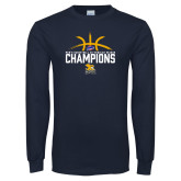 Navy Long Sleeve T Shirt-Mens Basketball Regular Season Champions
