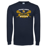 Navy Long Sleeve T Shirt-2018 Mens Lacrosse Champions