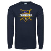 Navy Long Sleeve T Shirt-2018 MAAC Baseball Champions