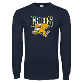 Navy Long Sleeve T Shirt-Griffs w/ Griff Stacked
