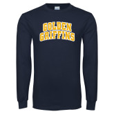 Navy Long Sleeve T Shirt-Arched Golden Griffins