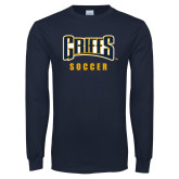 Navy Long Sleeve T Shirt-Soccer