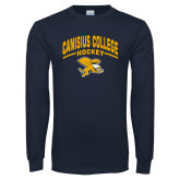 Navy Long Sleeve T Shirt-Arched Canisius College Hockey