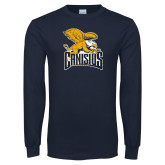 Navy Long Sleeve T Shirt-Canisius w/ Griff Stacked - Distressed
