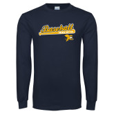 Navy Long Sleeve T Shirt-Baseball Script w/ Bat Design