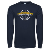 Navy Long Sleeve T Shirt-Basketball Ball Design