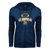 ENZA Ladies Navy Fleece Full Zip Hoodie-2017 MAAC Champions Baseball
