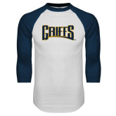 White/Navy Raglan Baseball T-Shirt-Griffs Wordmark