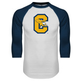 White/Navy Raglan Baseball T-Shirt-Capital C Griffs
