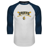 White/Navy Raglan Baseball T-Shirt-Baseball Crossed Bats Design