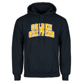 Navy Fleece Hoodie-Arched Golden Griffins