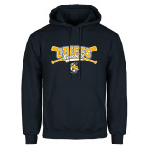 Navy Fleece Hoodie-Baseball Crossed Bats Design