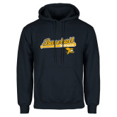Navy Fleece Hoodie-Baseball Script w/ Bat Design