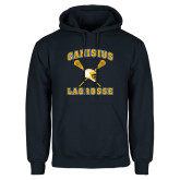 Navy Fleece Hoodie-Lacrosse Crossed Sticks Design