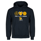 Navy Fleece Hoodie-Peace, Love and Volleyball Design