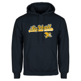 Navy Fleece Hoodie-Script Softball w/ Bat Design