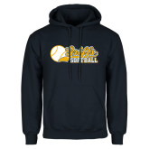Navy Fleece Hoodie-Script Softball w/ Ba Design