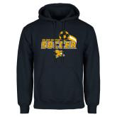 Navy Fleece Hood-Soccer Swoosh Design