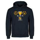 Navy Fleece Hoodie-Just Kick It Soccer Design