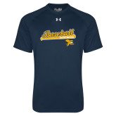Under Armour Navy Tech Tee-Baseball Script w/ Bat Design