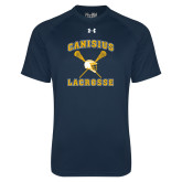 Under Armour Navy Tech Tee-Lacrosse Crossed Sticks Design