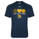 Under Armour Navy Tech Tee-Peace, Love and Volleyball Design