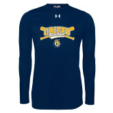 Under Armour Navy Long Sleeve Tech Tee-Baseball Crossed Bats Design