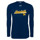 Under Armour Navy Long Sleeve Tech Tee-Baseball Script w/ Bat Design
