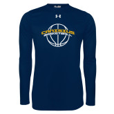 Under Armour Navy Long Sleeve Tech Tee-Basketball Ball Design