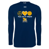Under Armour Navy Long Sleeve Tech Tee-Peace, Love and Volleyball Design