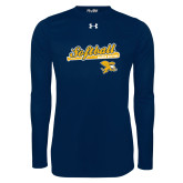 Under Armour Navy Long Sleeve Tech Tee-Script Softball w/ Bat Design