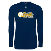 Under Armour Navy Long Sleeve Tech Tee-Script Softball w/ Ba Design