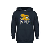 Youth Navy Fleece Hoodie-Canisius w/ Griff Stacked
