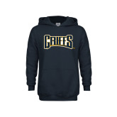 Youth Navy Fleece Hood-Griffs Wordmark