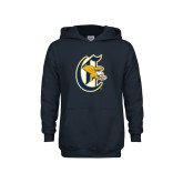 Youth Navy Fleece Hood-Old English C Griffs
