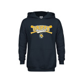 Youth Navy Fleece Hoodie-Baseball Crossed Bats Design