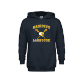 Youth Navy Fleece Hoodie-Lacrosse Crossed Sticks Design