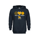 Youth Navy Fleece Hood-Peace, Love and Volleyball Design
